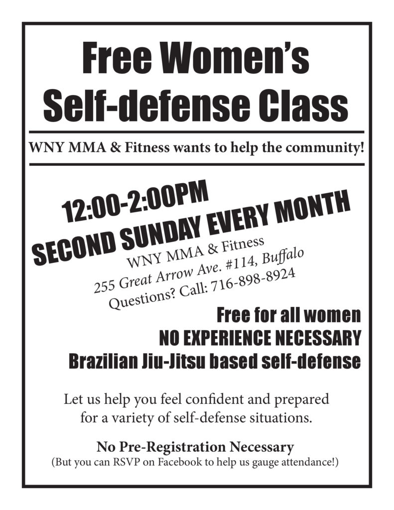 WNYMMA Second Sunday FREE Women's Self-Defense Class