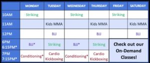 Live Online Schedule